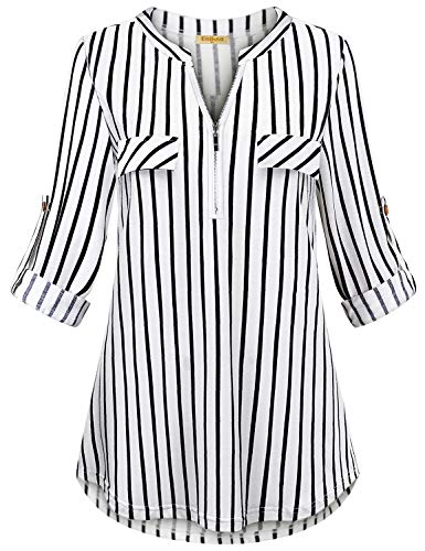Baikea Striped Shirt Women, Female Casual Vneck Notch Collar Zipper Up Sexy Sassy Form Fit 3/4 Sleeve Curved Hem Petite Soft Blouse Tunic Tops Black & White Stripe M