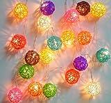 Mixed Colour Rattan Ball Fairy Light String Lights 20 Lante