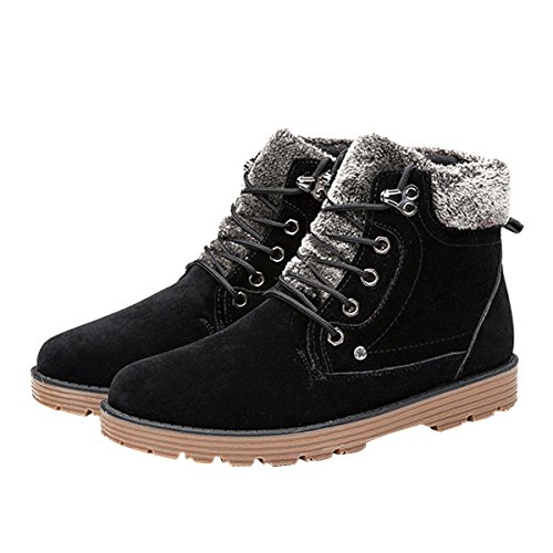 Men Winter Snow Combat Boots Faux Fur Lace Up Platform Ankle High Warm Sneakers by Dear Time