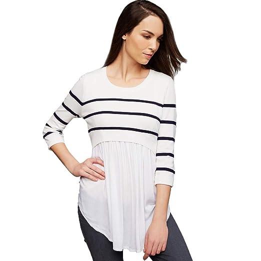 6dbb3cb799286 Kehen Nursing Top for Women Maternity Pregnant Blouse Long Sleeve Striped  Print Breastfeeding Long Shirt White