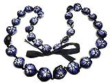 Aloha Passion Hawaiian Style Kukui Nut Lei, Hand Painted Purple Hibiscus 32 Inches