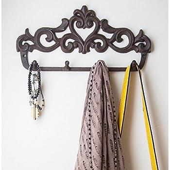 decorative cast iron wall hook rack vintage design hanger with 4 hooks for coats. Black Bedroom Furniture Sets. Home Design Ideas