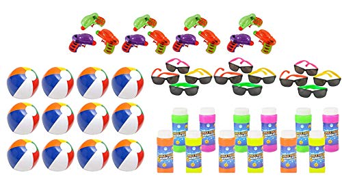 (Vlish Pool and Beach Party Favors Mega Bundle - Outdoor Summer Fun Water Toys Bulk Pack - 48 Kid Toys Included. Beach Balls, Squirt Guns, Bubbles and Childrens Sunglasses)
