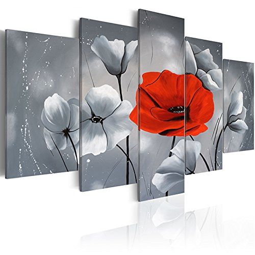 Niterny Art Red Abstract Poppy Flower Canvas Art Print Painting