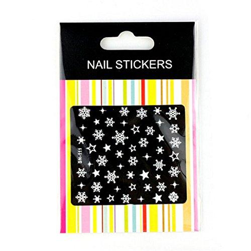 Nail Art Sticker,Putars Fashion 3D Nail Art Stickers Decals Decoration Snowflake Star Design ()