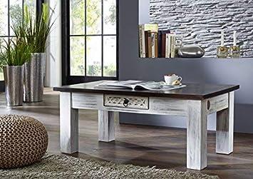 Table Basse 110x60cm Bois Massif De Manguier Cire Blanc Antique