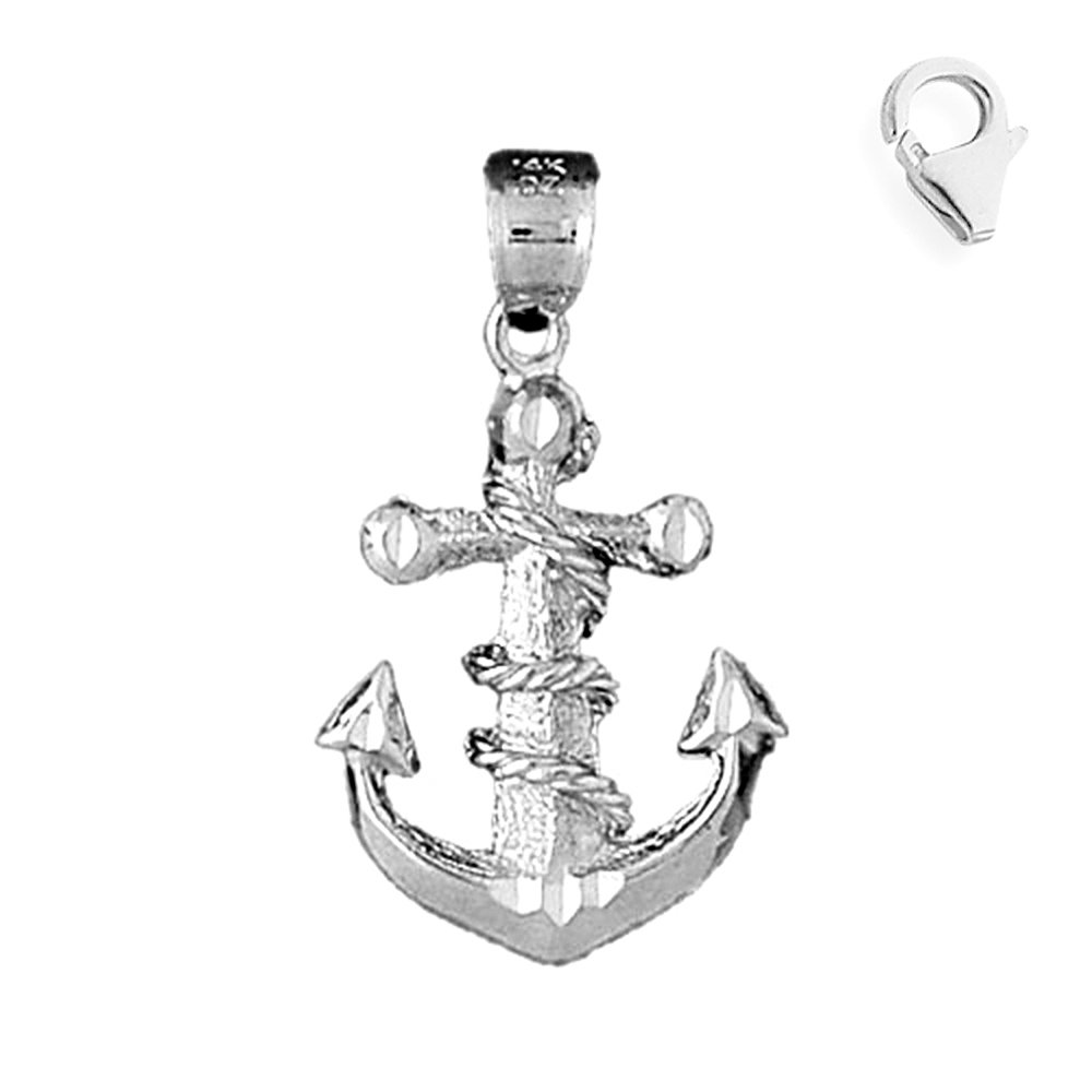 Jewels Obsession Anchor With Rope Pendant Sterling Silver 44mm Anchor With Rope with 7.5 Charm Bracelet