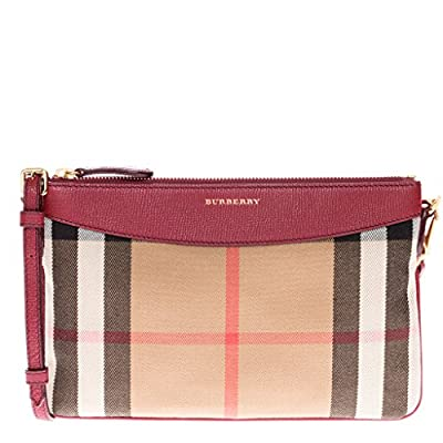 Burberry Women's House Check and Leather Clutch Bag Red