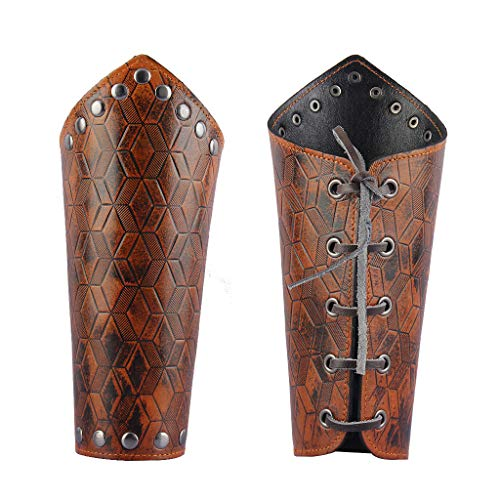 Jeilwiy Leather Armor Gauntlet Wristband Wide Bracers Arm Armor Cuff Medieval Bracers for Men Women Boys Knight Costume ()