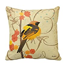 Black Yellow Oriole Bird Orange Floral Flowers Throw Pillow Cushion Cover Canvas 18 x 18 In