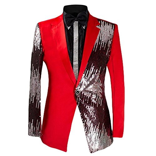 Men's 2-Piece Suit Casual One Button Slim Fit Blazer Coat Stylish Sequin (One Sequin)