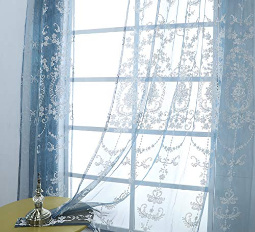 Aside Bside Victorian Design Sheer Curtain Luxurious Pattern Embroidered Rod Pocket Top Breathable Window Decoration for Living Room Bedroom and Office (1 Panel, W 52 x L 95 inch, Blue)