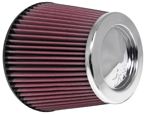 K&N RC-4381 Universal Clamp-On Air Filter: Round Tapered; 6 in (152 mm) Flange ID; 6 in (152 mm) Height; 7.5 in (191 mm) Base; 5 in (127 mm) Top