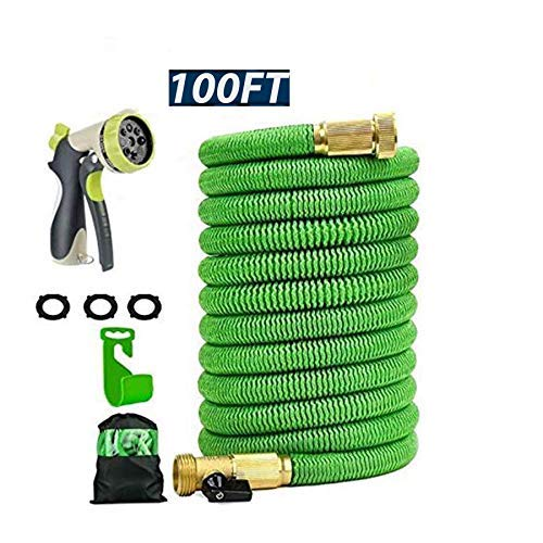 100ft Expandable Garden Hose with Double Latex Core Flexible Water Hose with 3/4″ Solid Brass Fittings and Extra Strength Fabric 48spindle3750D, include Flexible Spray 8 Mode Zinc Alloy Spray Nozzle