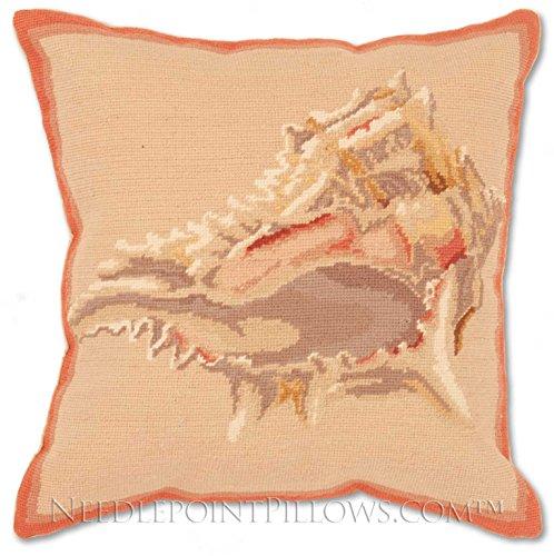 Handmade 100% Wool Decorative Coastal Beach Shore House Nautical Conch Shell Needlepoint Throw Pillow. 18