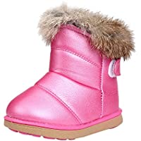 Mid-Tube Non-Slip Waterproof Snow Cotton Boots,Winter Baby Boys Girls Leather Martin Boot Warm Shoes