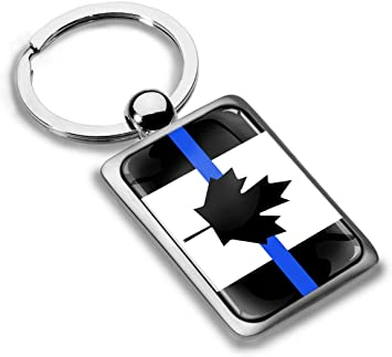 3D Metal Canada Thin Blue Line Canadian National Police Support Flag Keyring Key Chain Gift Men Women Keychain Giftbox KK 227