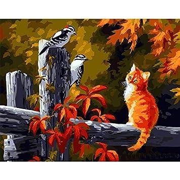 Zqylg Gato y pájaros sin Marco Pintura de DIY por números Animales Cuadro de Pared de Arte Moderno Pintura de caligrafía para decoración del hogar: ...