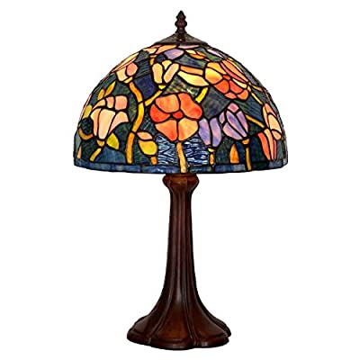 Bieye L10494 12-inches Magnolia Tiffany Style Stained Glass Table Lamp with Zinc Base, 19-inch Tall