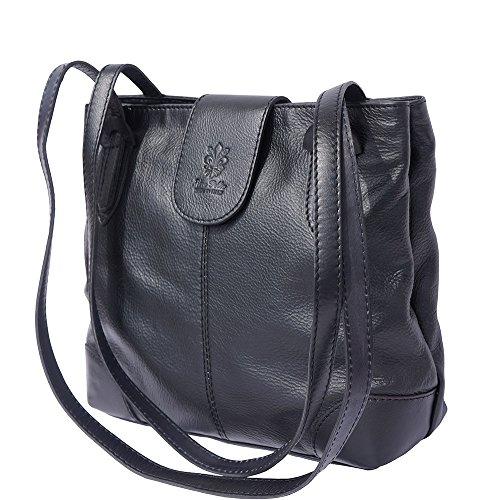 015 Leather Borsa Nero Manici Spalla Doppi Market Florence Con A vqUW8U6a