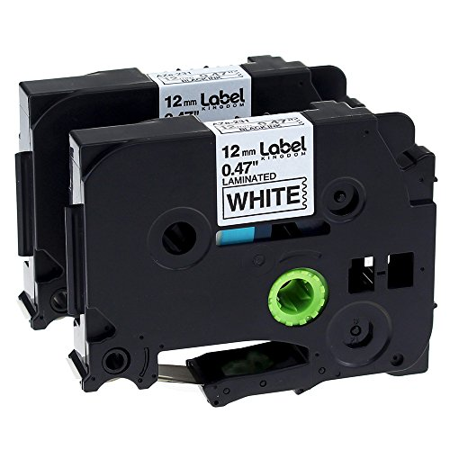 Label KINGDOM 2 Pack Replace P Touch Label Tape Compatible Brother P-touch (TZ231 TZe231) Standard Laminated, Black on White, 0.47 Inch (12mm) x 26.2 Feet (8m) Brother P-touch Label Tape