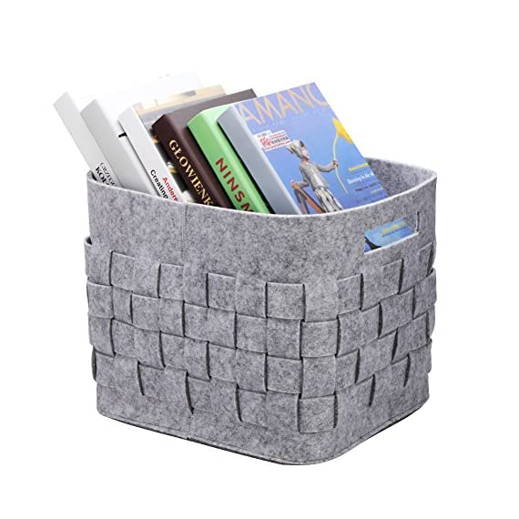 Handmade Foldable Baby Toy Book Snacks Organizer Storage Basket Multifunctional Collapsible Felt Storage Bin Container with Handle Light Grey - 100% handmade 5mm thickness felt storage baskets, it's environmental friendly. Wear-resistant material, it can be used for a long time. The large capacity storage cubes can organizer toys, CDs, books, newspapers, magazines art/craft supplies, clothes, shoes, snacks and more It's a good storage helper for your whole family. Foldable storage bins is space-saving.you could fold it up,when you don't use it or when you need it for a trip. It's very convenient to take along. - living-room-decor, living-room, baskets-storage - 51gOZ8SX0rL. SS570  -