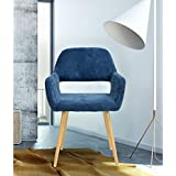 Mid-Century Style Side Chair Metal Legs Fabric Cushion Seat and Back for Dining Room Arm Accent Chairs in Dark Blue