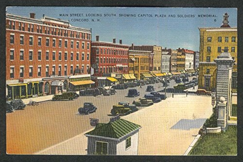 Main Street Capitol Plaza Soldiers Memorial Concord NH postcard 1930s