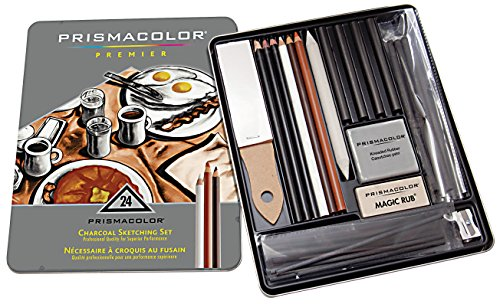 Prismacolor Premier Charcoal Pencils with Erasers, Sharpeners & Blending Stump, 24-Piece Set by Prismacolor
