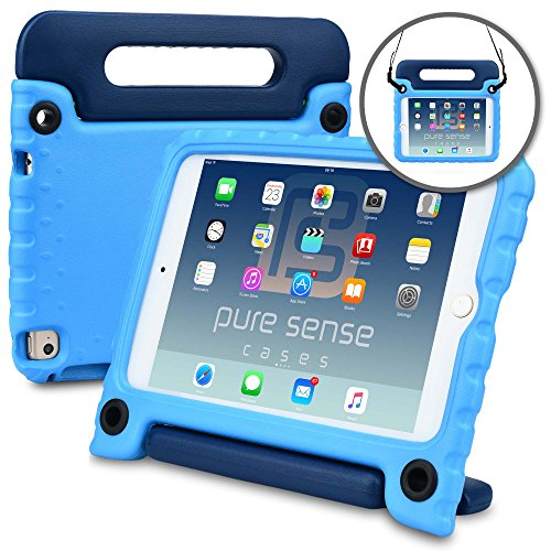 Apple iPad Mini 4 case - [World's First Anti Microbial Case for Kids] PURE SENSE BUDDY Rugged Children Protective Boys Cover + Shoulder Strap, Handle, Stand, Cleaning Kit, Screen Protector (Blue)