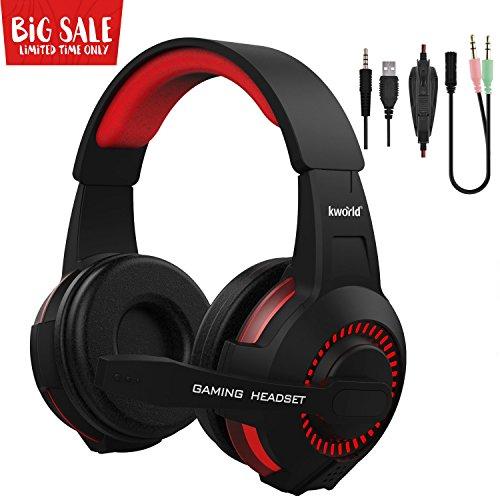 Over-ear Headphones, Lightweight PC Gaming Headsets with Deep Bass, Microphone, Volume Control, Adjustable Headband & Turbin-Inspired Backlight by KWORLD(Red)