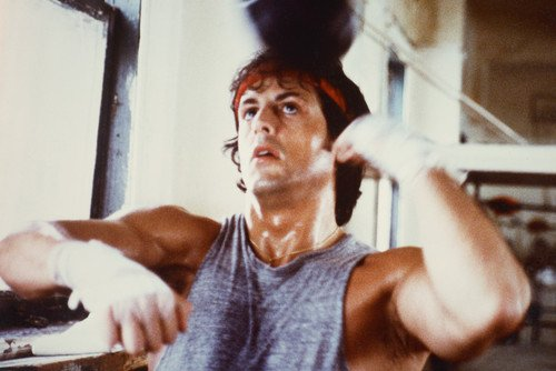 Sylvester Stallone in Rocky Poster with punch bag classic