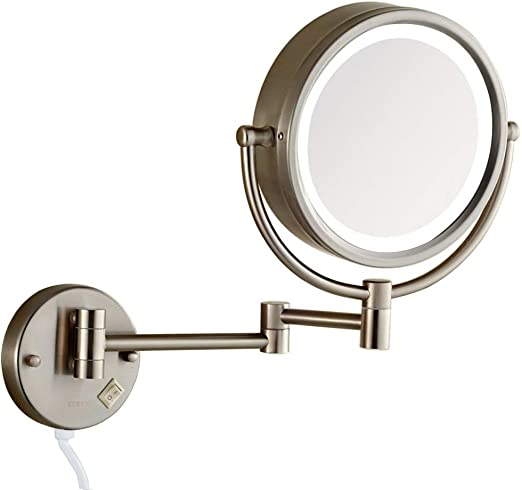Gecious Wall Mounted Lighted Makeup Mirror with 3X Magnification//LED Lighted//8 inches//Double Sided//Hardwire//Chrome Finished