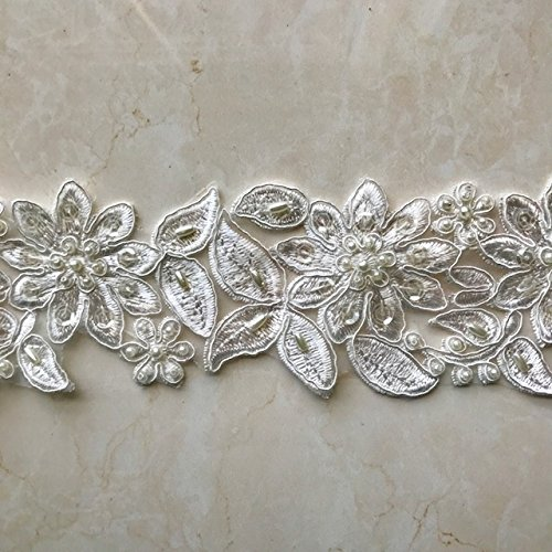 Trim Scallop Sequin (Bridal Lace Trim on Organza, Pearls and Clear Sequins, for Veil, Wedding Dresses, Garments, Ivory, 2 1/2