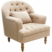 Nelson Beige Tufted Fabric Arm Chair