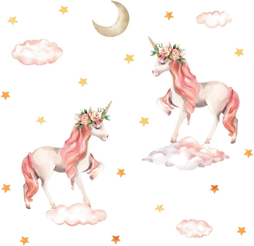 Pink Unicorn Wall Decal, Horse Unicorn Sticker with Clouds Moon Star Decal,Fairytale Wall Decals for Girls Bedroom Home Decor