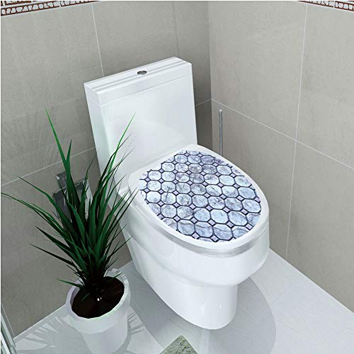 (Toilet Cover Sticker 3D Printing,Apartment Decor,Retro Marble Tiled Spiral and Round Circular Bound Tied Old Fashion Shapes Design,Grey,for You Design,W12.6