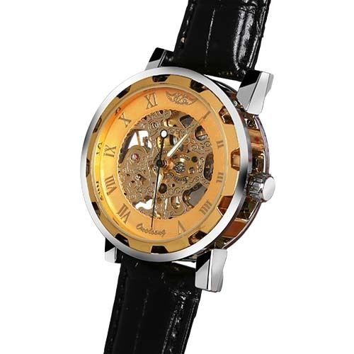Men's Skeleton Dial Automatic Mechanical Watch leather band Sport Gift Gold Dial Transparent dial with skeleton Design