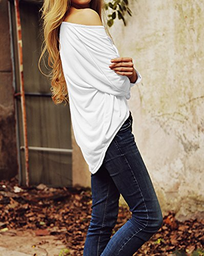 Shirts Tee Casual Shirts Femme en Chemiser Tops Blouse Blanc Longues Vrac Irrguliers Shirt Manches T HZnvgqEw