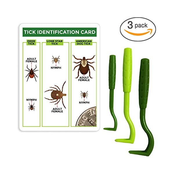 TickCheck Tick Remover Value 3 Pack - Tick Remover Tools + Tick Identification Card - for Humans, Dogs & Cats 1