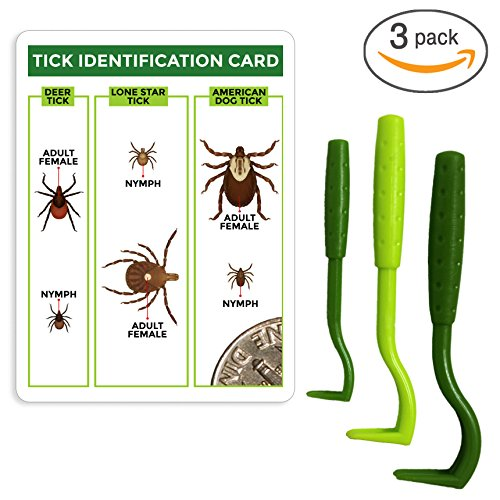 TickCheck Tick Remover Value 3 Pack - Tick Remover Tools + Tick Identification Card - for Humans, Dogs & Cats (1 Set)