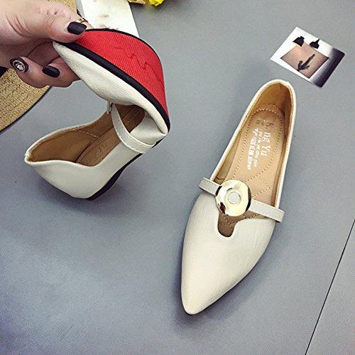 Btrada Mujeres Soft Penny Mocasines Zapatos De Hebilla De Metal Con Punta Estrecha Deslizamiento En El Barco Zapatos De Conducción Mocasines Beige