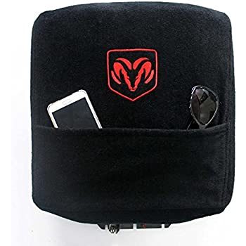 Seat Armour Custom Fit Console Cover with Embroidered Logo for Select Dodge Ram Models with Jump Seat - Cotton (Black) (Officially Licensed, Third Seats and Bench Seats)