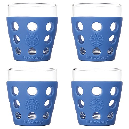 Lifefactory 10-Ounce BPA-Free Indoor/Outdoor Glassware with Protective Silicone Sleeve, 4-Pack, Cobalt
