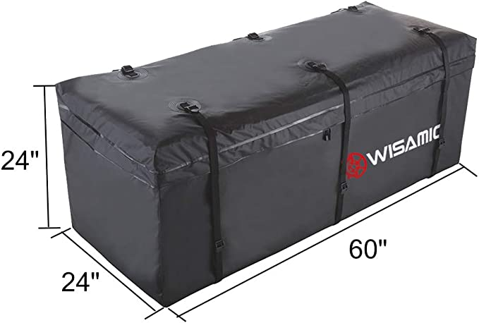 WISAMIC - Bolsa de transporte de carga para enganche, impermeable, 60 x 24 x 24 pulgadas (20 pies cúbicos) 500 x 500D PVC Tarpulin, bolsa de equipaje para autocaravana, 566,3 litros: Amazon.es: Coche y moto