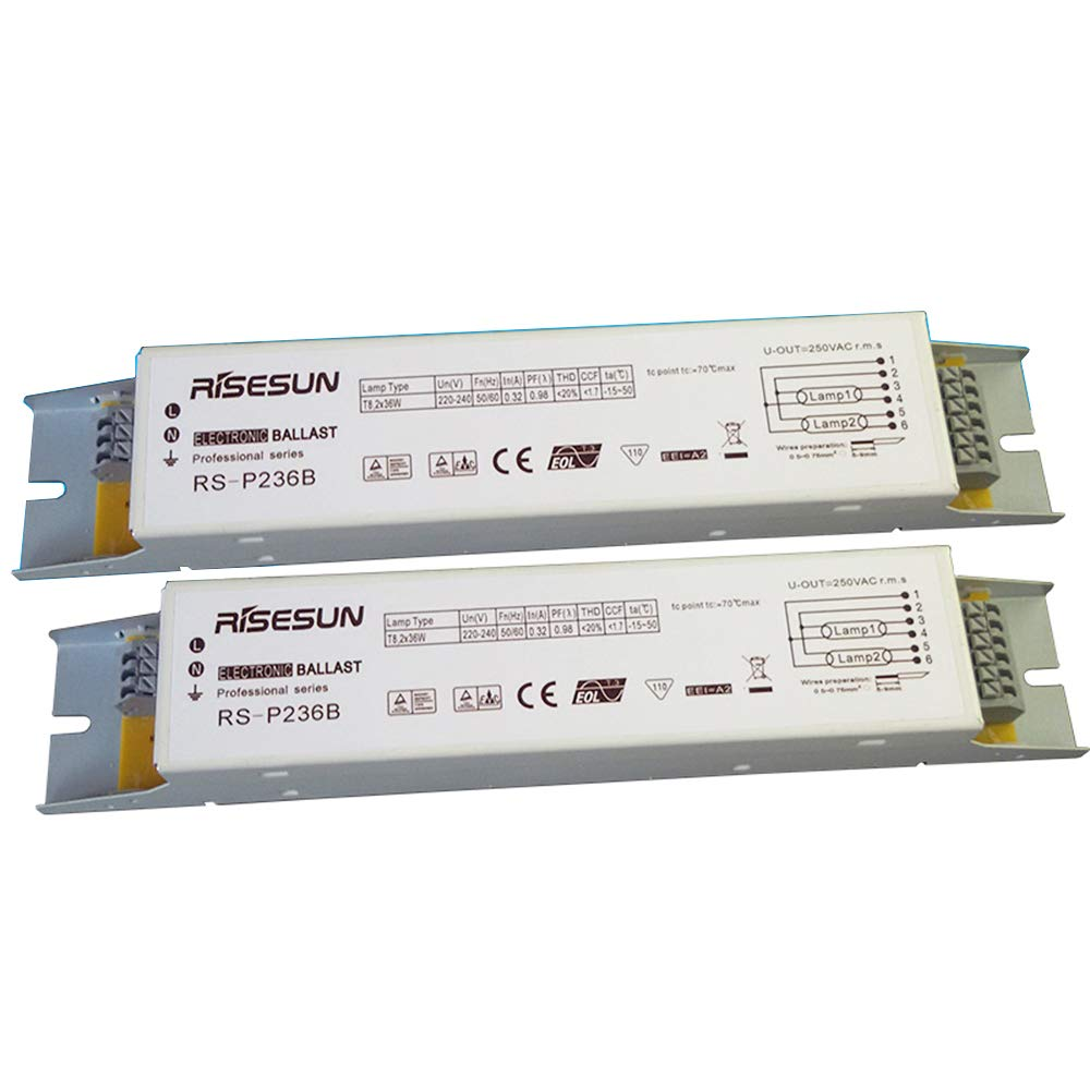 2 Unids RS-P236A 220V 2x36W T8 Balastos Electr/ónicos Profesionales para L/ámpara de Desinfecci/ón UV