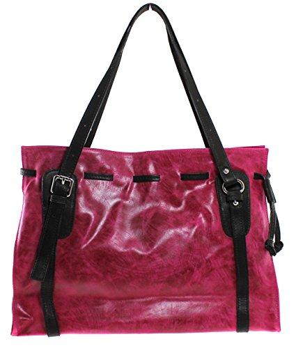 Borsa Bag 42x27x13cm Fucsia In Italia Made Vera 100 Vettore Tote Pelle Donna Ctm ZIdqBI