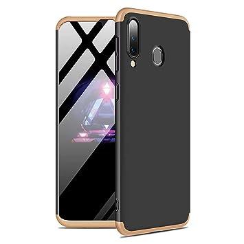 MISSDU reemplazo para Funda Samsung Galaxy A40 360 Carcasa Exact Slim de protección Completa Carcasa no Incluido y Protector de Pantalla, Negro Dorado