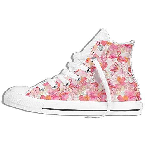 Flamingo Med Kärlek Hjärta Hög Topp Klassiska Tygskor Mode Sneaker Vit