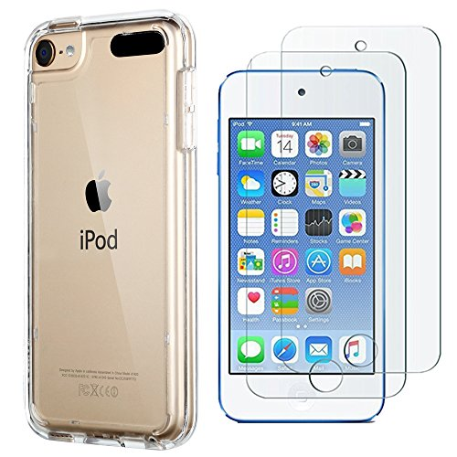 ULAK iPod Touch 7 Case with 2 Screen Protectors,iPod 6 Cases, Clear Slim Soft TPU Bumper Case for iPod Touch 5 / 6th / 7th Generation Hard Cover (Clear)